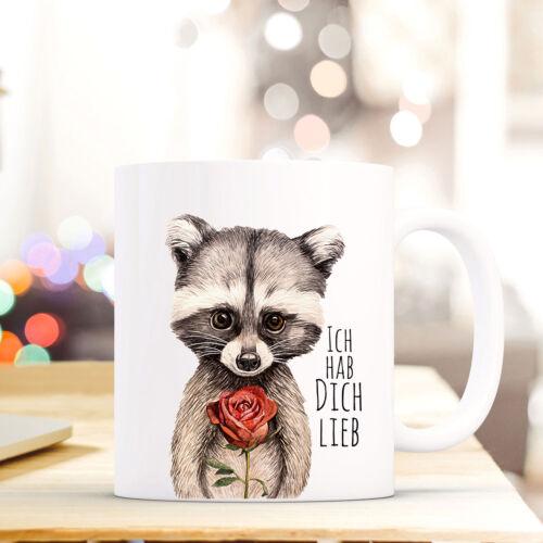 Becher Kaffeebecher Tasse Geschenk Pärchen Waschbär Spruch hab dich lieb ts672