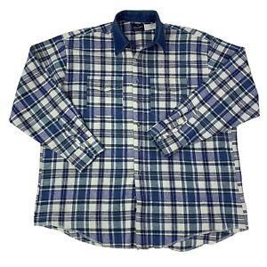 Wrangler-Mens-Size-XXL-2XL-Blue-amp-White-plaid-Long-Sleeve-Western-Cowboy-Shirt