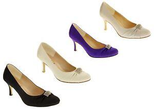 33f10888b91cd Details about Womens Sabatine Satin Diamante Bridal Bridesmaids Wedding  Shoes Sz Size 3 4 5 6
