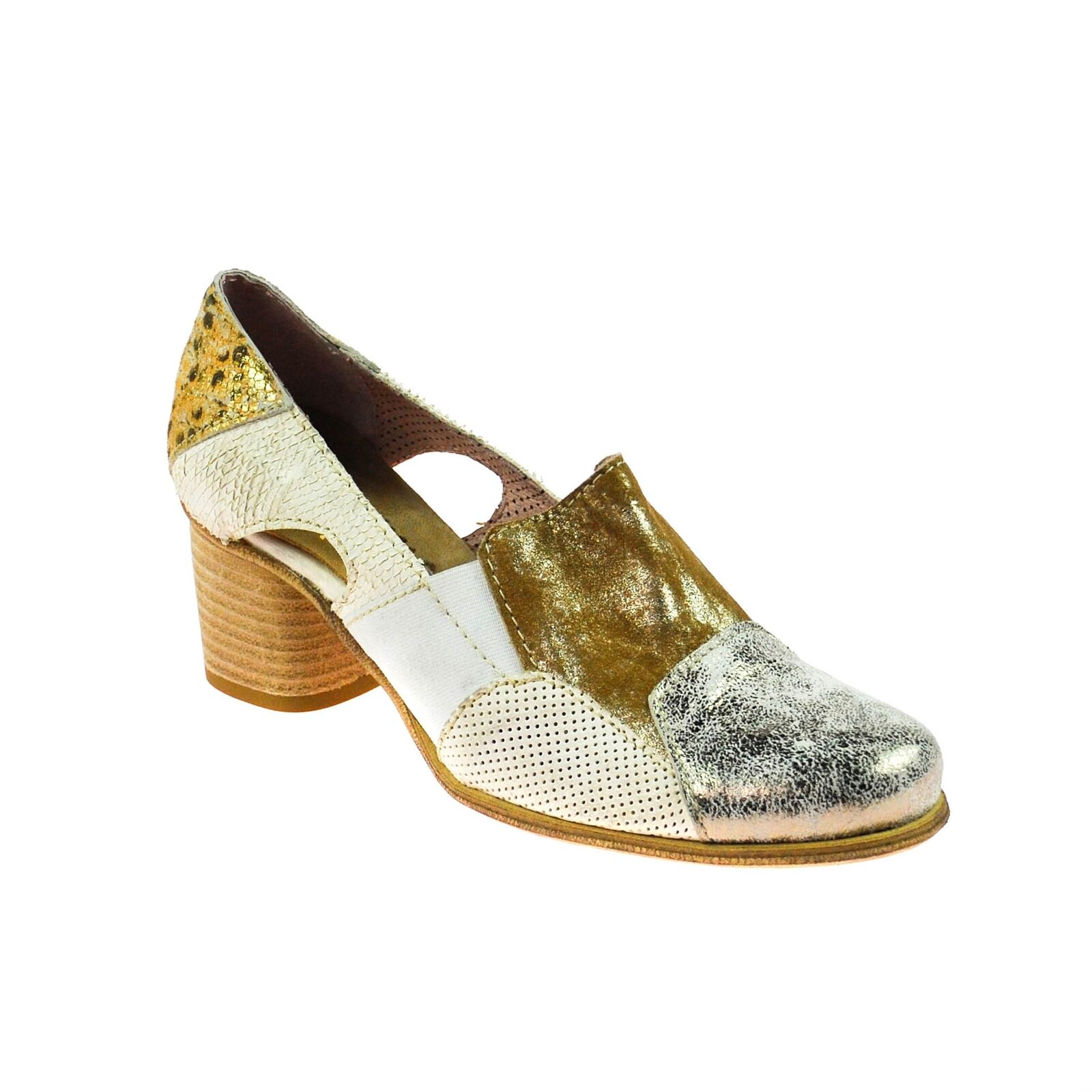 Charme femmes Chaussure Cuir marron or blanc argent Taille 37