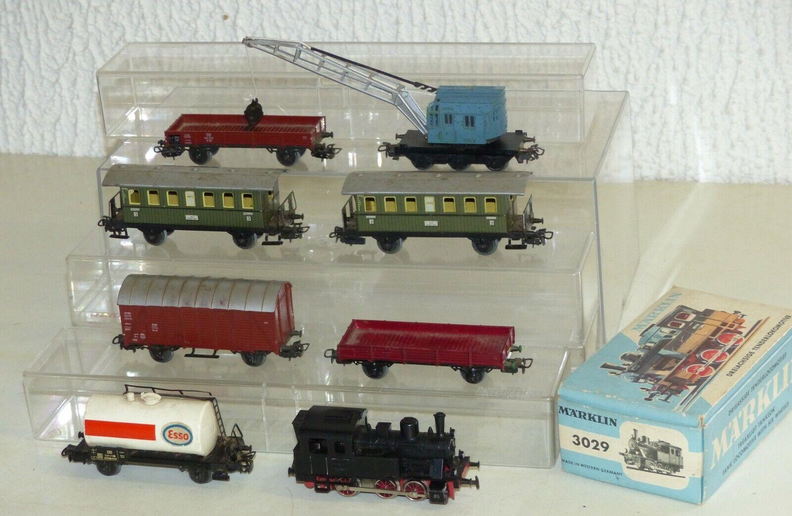 8x Märklin  3029 Dampflok, Güterwagen, Personenwagen, Kranwagen.. Spur 1 87 H0