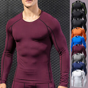 Mens-Compression-T-Shirt-Long-Sleeve-Base-Layer-Under-Skin-Tight-Tops-Fitness