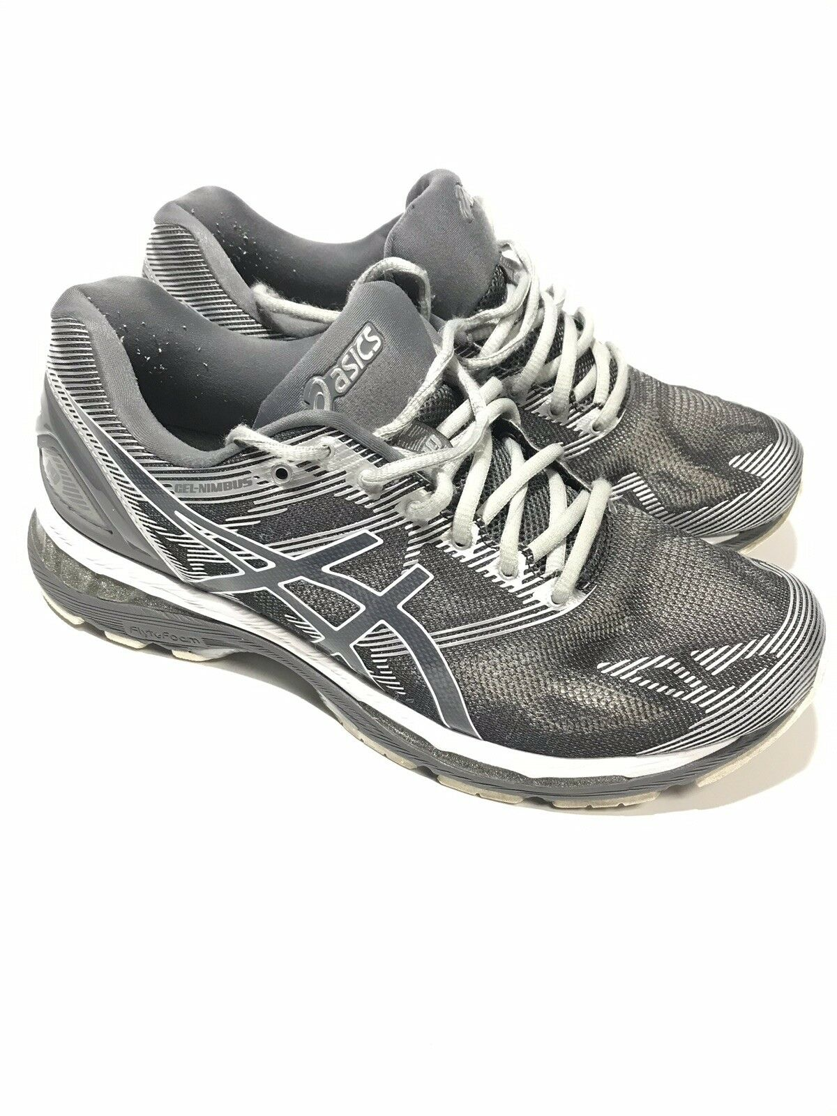 Asics Para Hombre Gel Nimbus 19 T700N Plata Carbono Calzado para Correr