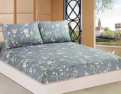 Tache 2-3PC Cherry Blossom Dusk Floral Gray Pink Rustic Cotton Fitted Sheet Only