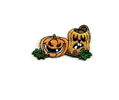 Halloween Pumpkin Jack-O-Lantern Shimmery Embroidered Iron On Patch