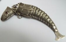 SUPERB RARE ANTIQUE SPANISH c.1850 SOLID SILVER ARTICULATED FISH SEWING ETUI BOX