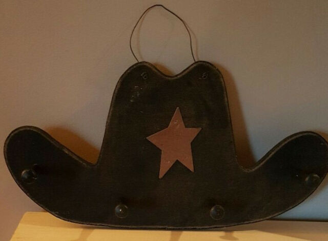 Primitive Western Wood Cowboy Hat Hanger Hooks Wall Decor Metal Star