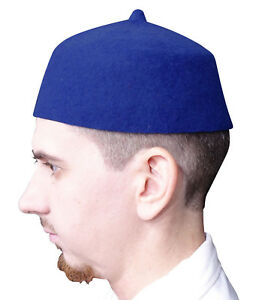 6d9dcab01bb TheKufi Blue Felt Wool Fez Muslim Hat with Tip Kufi Prayer Cap ...
