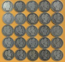 Barber Quarters - Circulated Selection (1892-1916) 25 Coins