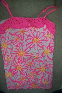 GIRLS-SIZE-18-JUSTICE-WHITE-NEON-PINK-TANK-TOP-SEQUINED-RUFFLE-USED