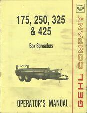 Gehl Company Box Spreaders 175 250 325 Form No 904249 Tractor Operators Manual