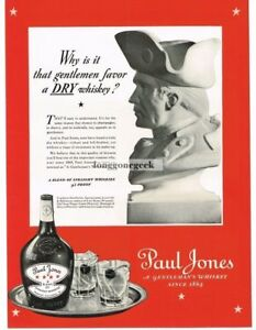 1937 PAUL JONES Whiskey Bust of John Vintage Ad