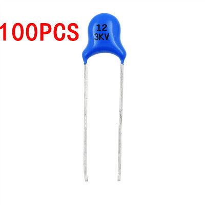 100PCS 3 kV 12PF 3000 V Condensador de cerámica de alta tensión