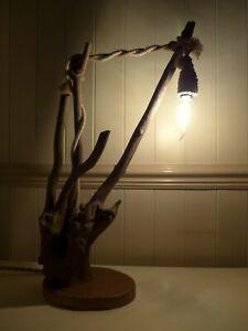 WOODEN TABLE LAMP HANDMADE UNIQUE RUSTIC EDISON STYLE BULB INC.G