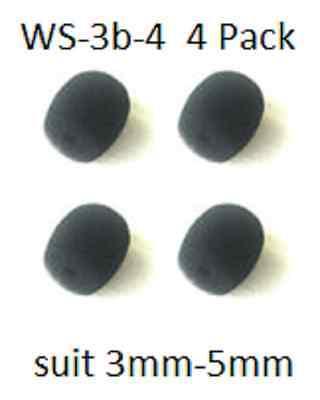 """WS3b-4: 4x Black Foam Windscreen 1/8""""-3/16"""" Headset Earset Lavalier microphone"""