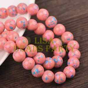 Hot-30pcs-8mm-Round-Charms-Loose-Glass-Spacer-Beads-Deep-Pink-Blue-Dots-Findings