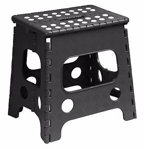 Folding Plastic Step Stool Black 13 Inch 255bk