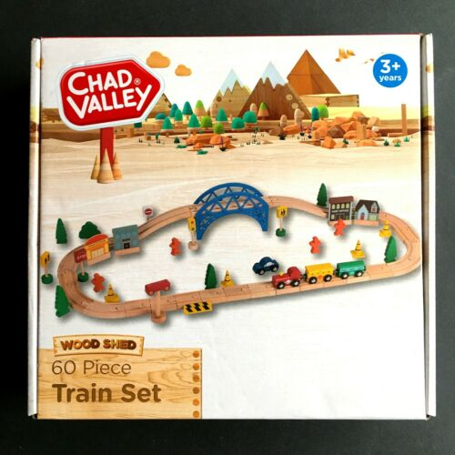 Ages 3+ Wooden Train Set Chad Valley 60 Piece New in Box