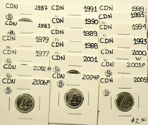 1977-to-2009-Canada-10-Cents-Lot-of-19-From-Sets-UNC-5458
