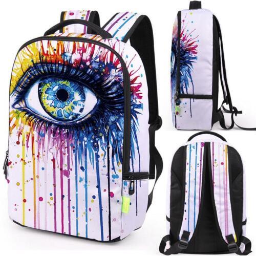 UK Kids Backpack School Bag 3D Splash ink Graffiti Canvas Rucksack Travel Laptop