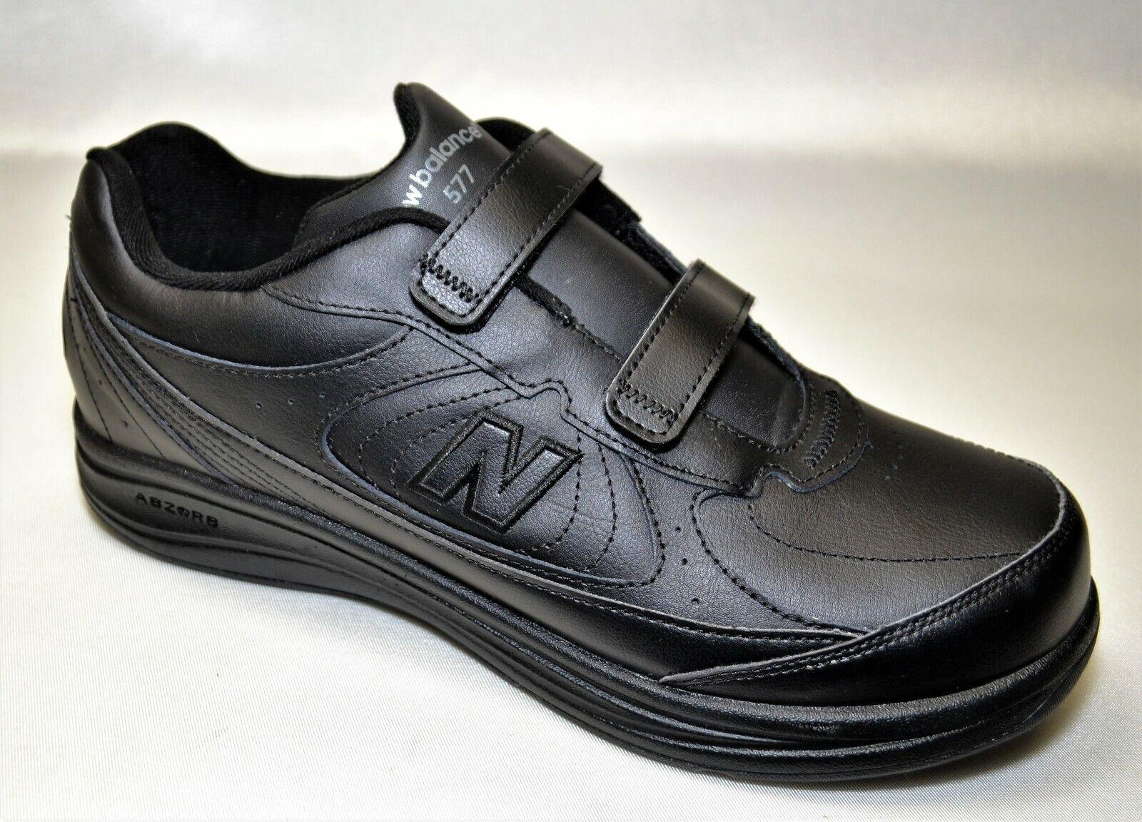 New Balance 577 Mens Size 11 (4E) Wide Black Leather Straps Walking Shoes EUC