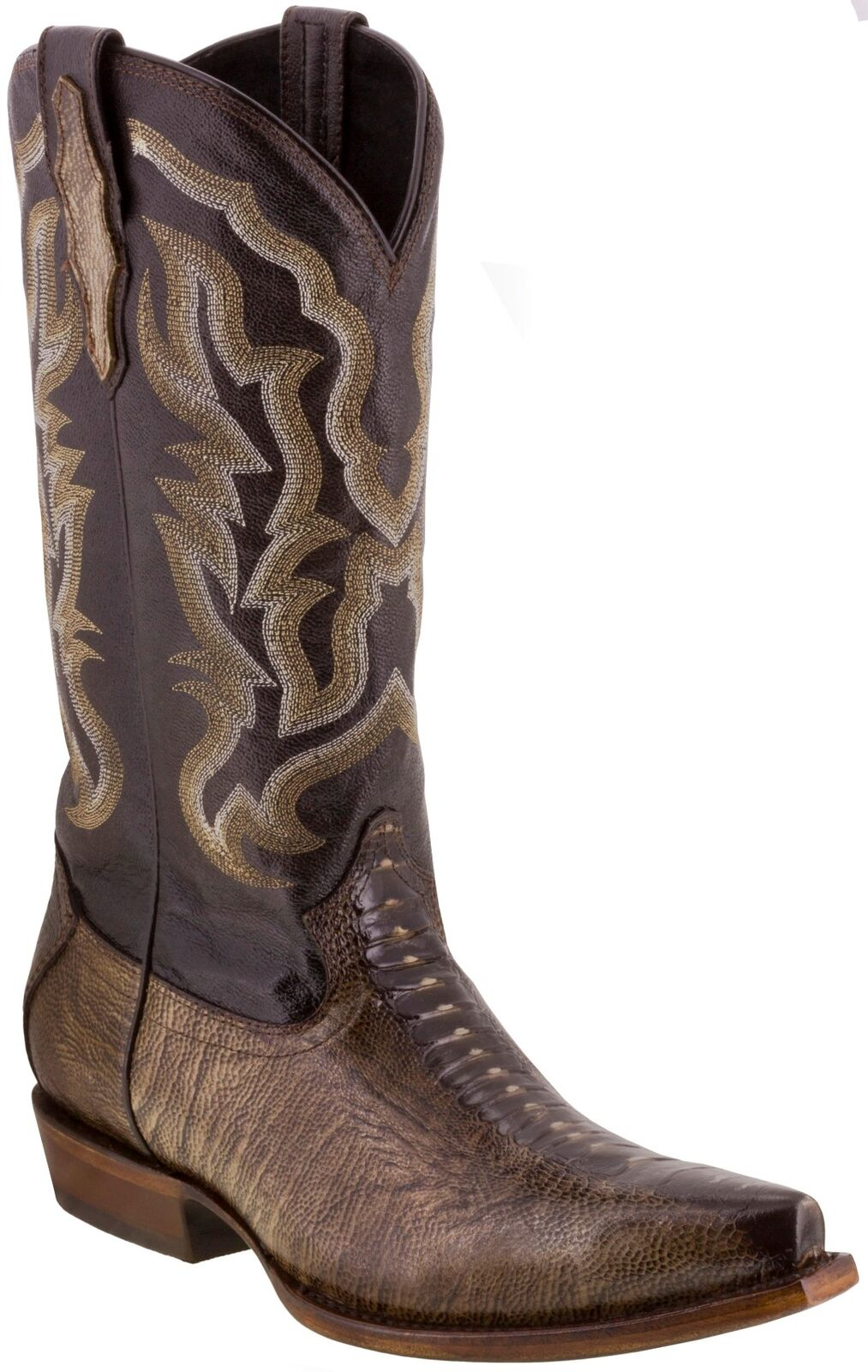 Mens Brown Ostrich Foot Pattern Leather Western Cowboy Boots X Toe