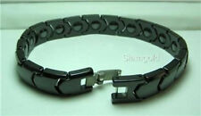 MEN 12MM Black High-Tech Ceramic and Tungsten Magnetic Bracelet 8.25 inches