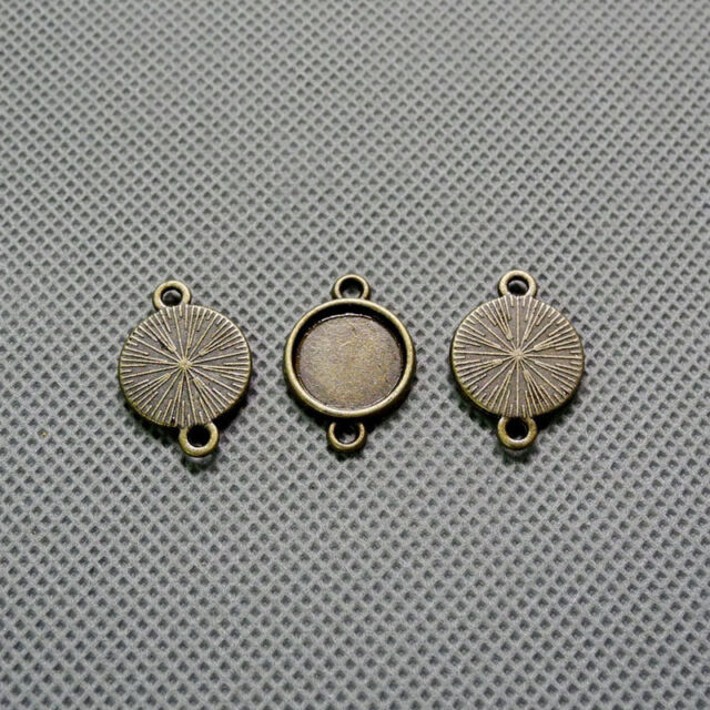 3x Jewelry Making Supplies Vintage Necklace A1303 Round Setting Cabochon Frame