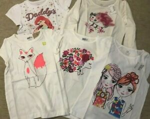 New Set of 5 white tops Children's Place Crazy 8, Disney Princess girl's 5y $92
