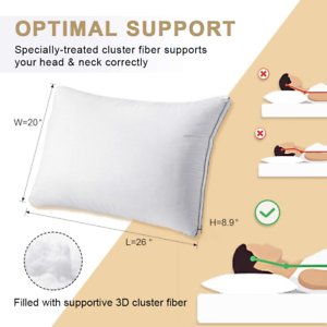 Bed Pillows 2 Standard Size Hotel Luxury Quality Hypoallergenic Soft Supportive