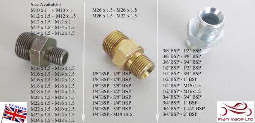 BSP Metric Male Thread Adaptor Fitting Nipple Hose Hydraulic Water Connector Air