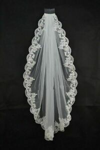 Handmade-White-Ivory-Elbow-Length-Bridal-Wedding-Bride-Veil-With-Comb-Lace-Edge