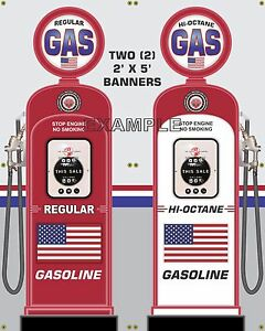 GAS PUMP SET NO BRAND USA BANNER GAS STATION SHOP GARAGE DISPLAY SIGN ART 2-2X5