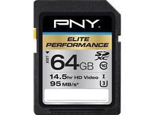 PNY 64GB Elite Performance SDXC UHS-I/U3 Class 10 Memory Card, Speed Up to 95MB/