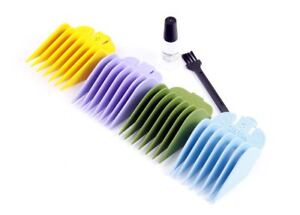 Wahl Hair Clipper 4 Colour Comb Set Numbers 5, 6, 7, 8 Includes Oil & Brush Set