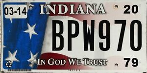 GENUINE-Indiana-In-God-We-Trust-Flag-Graphic-License-Licence-Number-Plate-BPW970