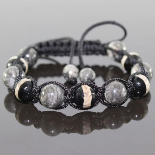 Señora Onyx perlas Shamballa pulsera con horror jaspe perlas ajustable