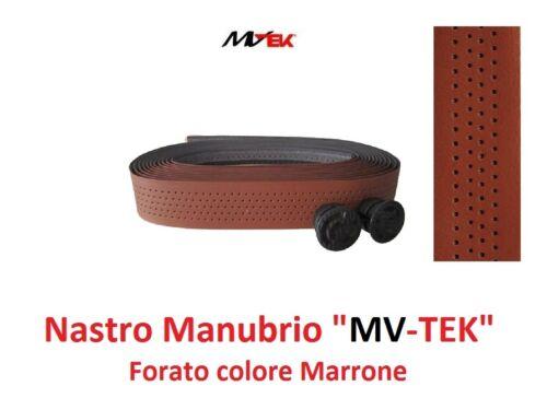 """Vintage Nastro Manubrio Forato /""""MV-TEK/"""" Marrone-Cuoio per Bici 26/""""-28/"""" Corsa"""