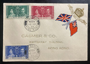 1937-Victoria-Hong-Kong-First-Day-Cover-FDC-King-George-6-KGVI-Coronation