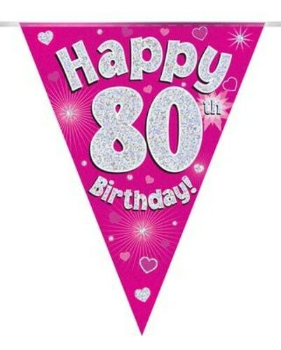 Pink Holographic Happy 80th Birthday Flag Bunting Decoration 12.8ft Long New