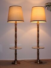 Mid C Modern Hollywood Regency Faux Bamboo Gilded Brass Floor Lamps Marble Table