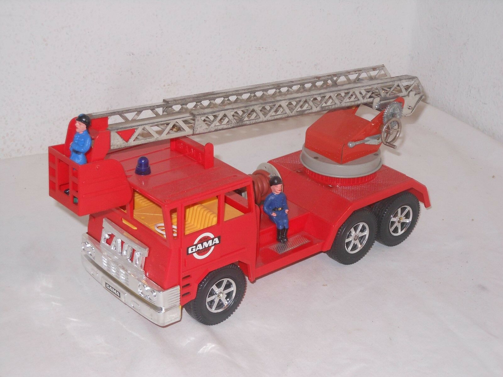 FAUN FIRE BRIGADE Cart - Vintage Tin-Toy - Gama - West Germany - 21