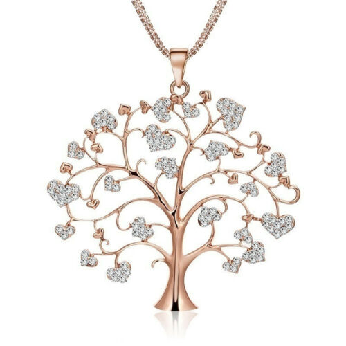 Rose Gold Women/'s Tree of Life Crystal CZ Cubic Zirconia Pendant Necklace Ladies