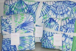 NEW-Pottery-Barn-Lilly-Pulitzer-QUILT-amp-SHAMS-Oh-Shello-amp-Deep-Dive-FULL-QUEEN