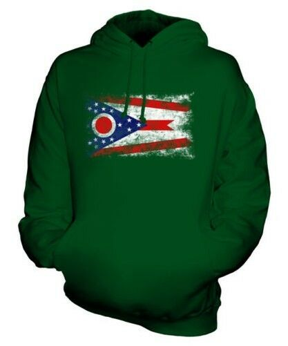 OHIO STATE DISTRESSED FLAG UNISEX HOODIE TOP OHIOAN JERSEY GIFT