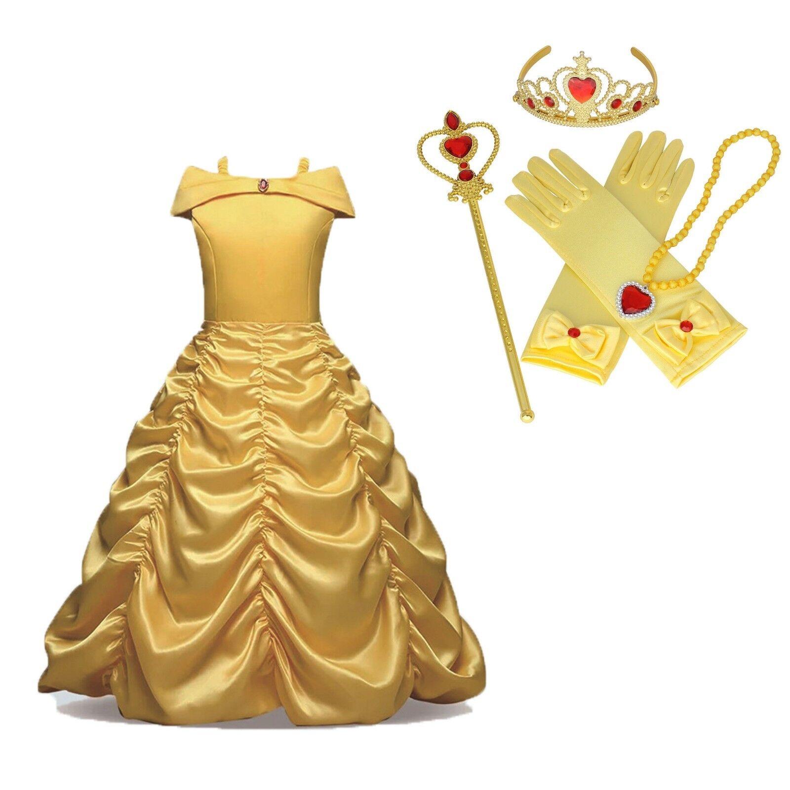 Kinder Mädchen Prinzessin Kleid Cosplay Kostüm Belle Party Fasching Xmas Kleider