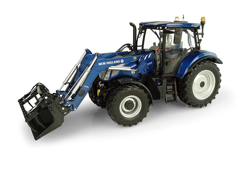 New Holland T6.175 azul Potencia Cargador frontal de tractor – 1 32 escala miniatura