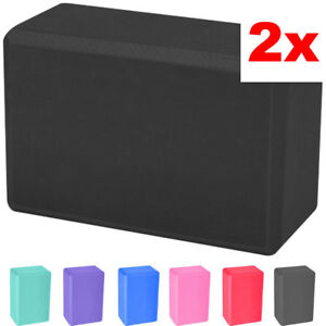 2 x Yoga Block Pilates Foam Foaming Brick Stretch Gym Fitness Exercise Bolster