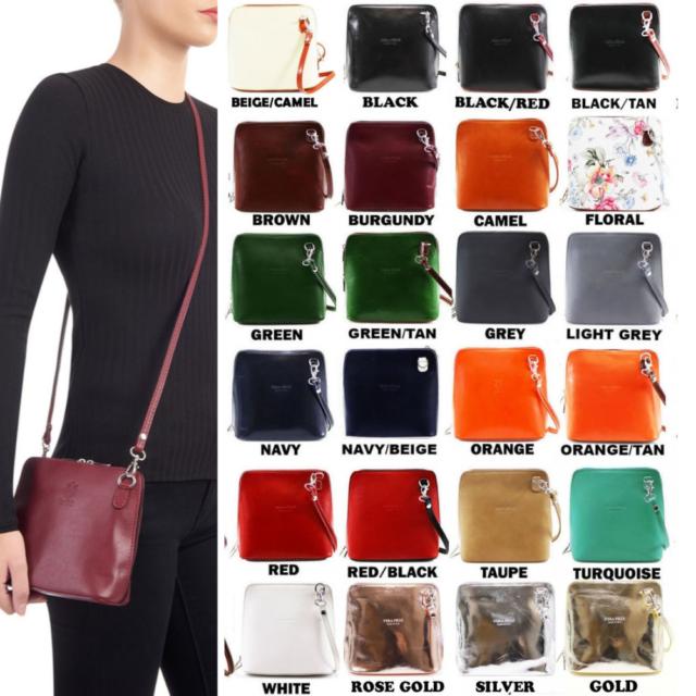 6c8a0db63e6 Ladies Womens VERA PELLE Real Leather Italian Small Shoulder Cross Body  Handbag
