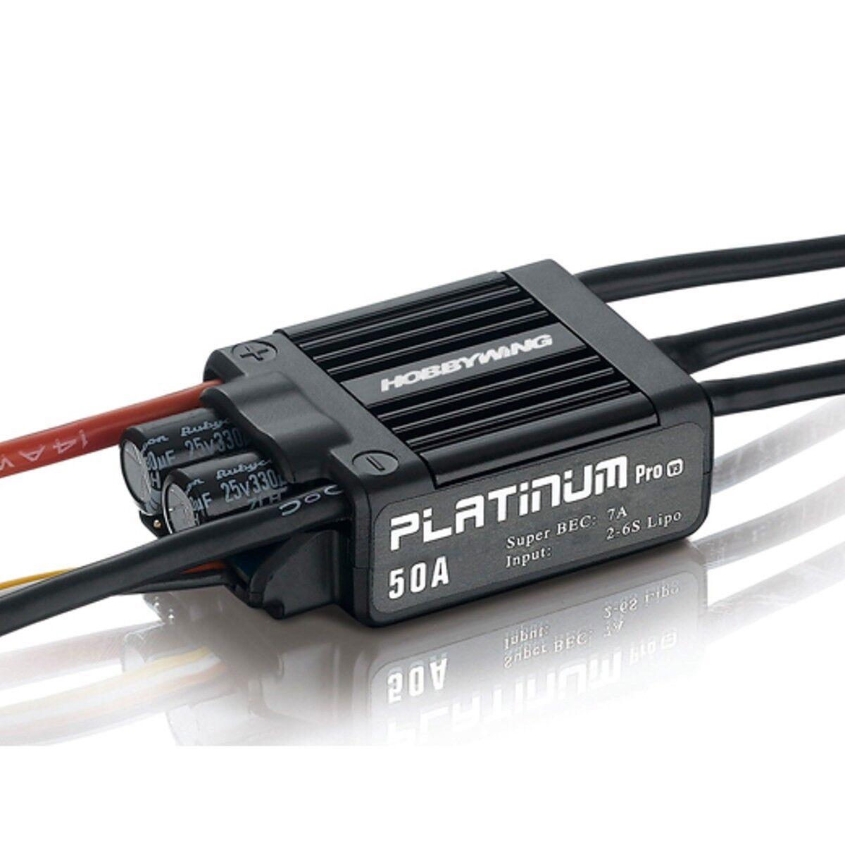 HobbyWing Platinum Pro 50A ESC 2S-6S Regler f. bürstenloser Motor Heli 450 450L